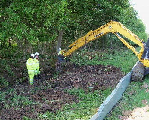 Land mitigation ecologists checking