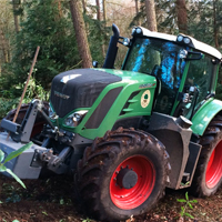 fendt tractor at work in the forest