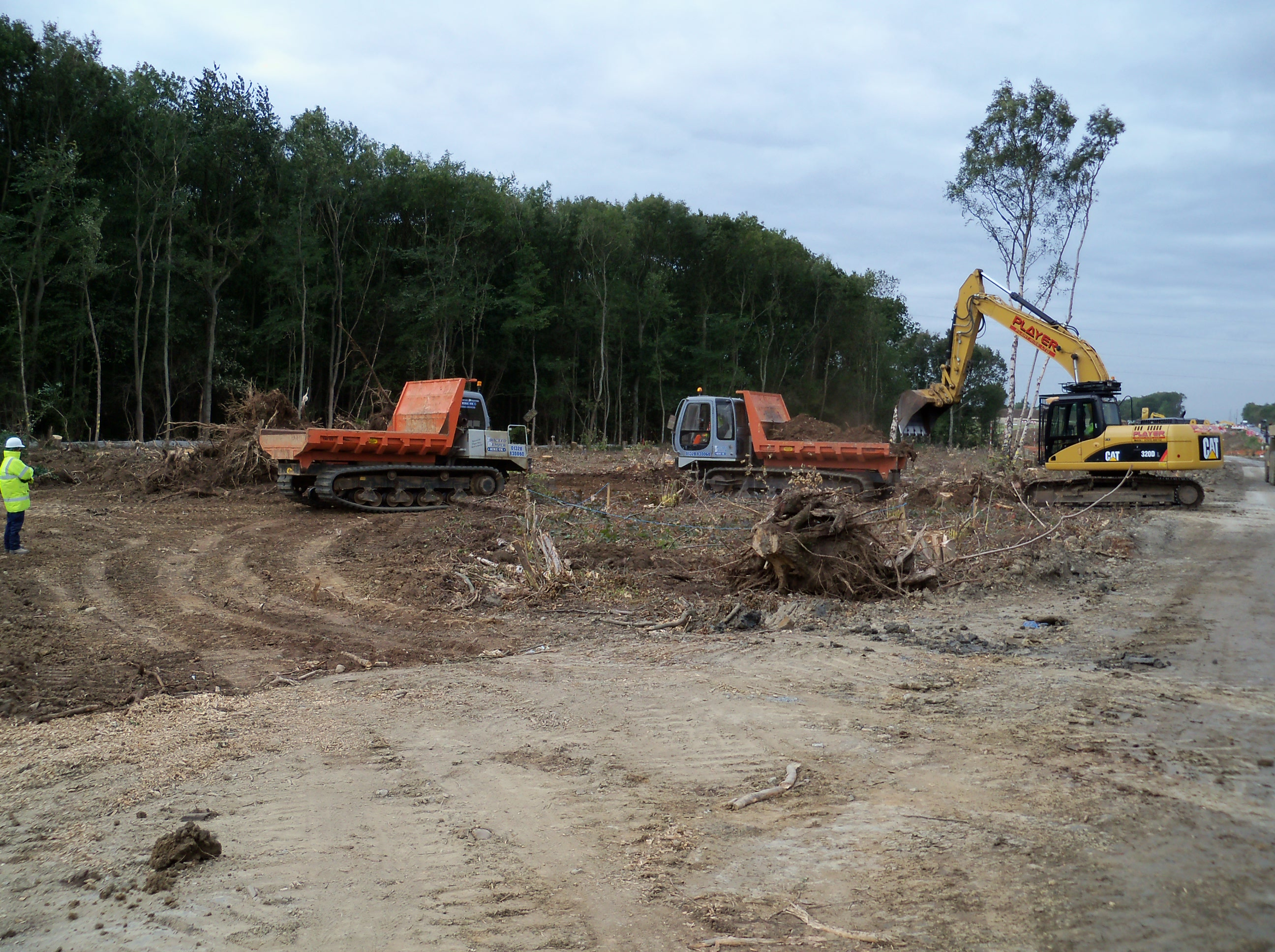 Low ground pressure machinery to transport woodland components